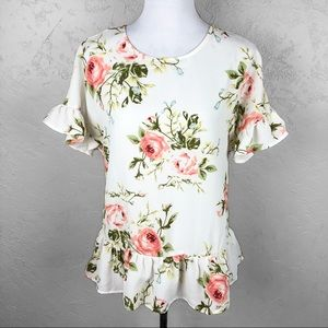 Shein Floral Blouse Ruffle Sleeves